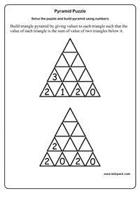 Grade 1 Math Pyramid Puzzle Worksheets Activity Sheets For Kids Worksheets For Teachers Math Sheets 1st Grade Math Math