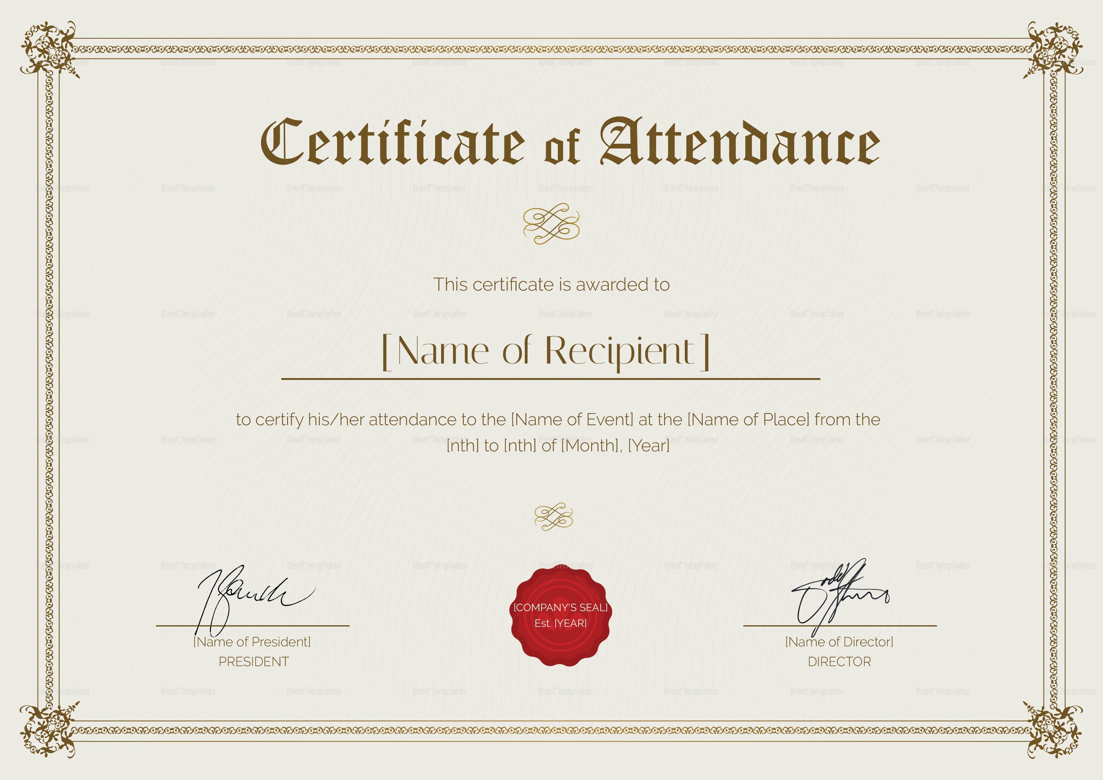 Certificate Of Attendance Template Business Template Certificate Design Template Free Gift Certificate Template Free printable certificate of attendance template
