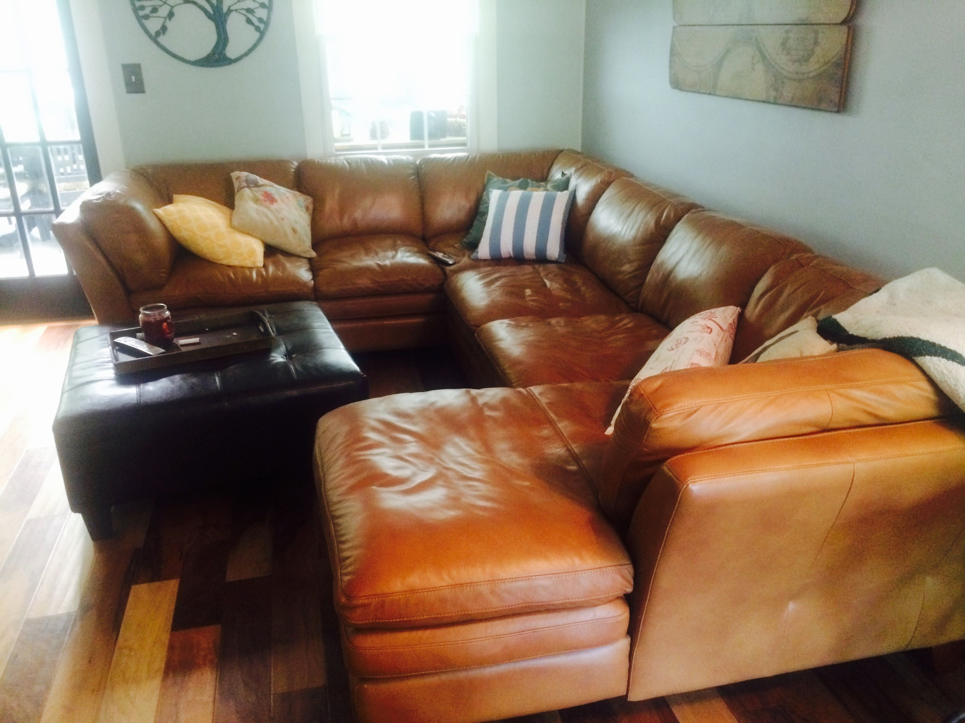 "Sierra Camel"" Leather 3 piece Sectional Includes two arm sofa"