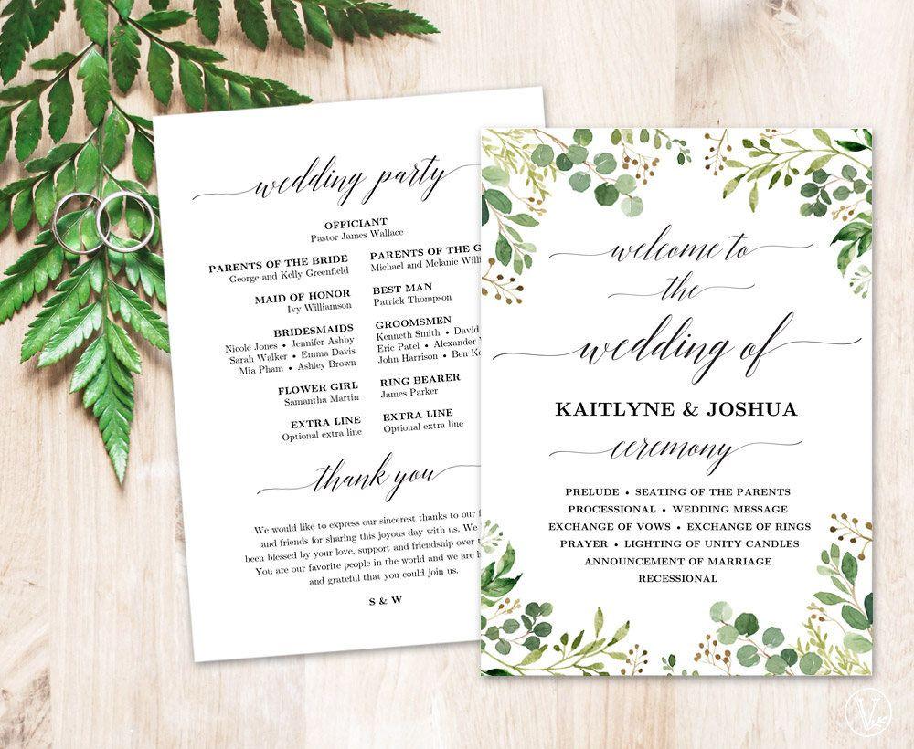 wedding program template printable rustic greenery wedding programs