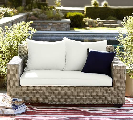 Torrey All Weather Wicker Square Arm Sofa   Natural | Pottery Barn Love  Seat 62
