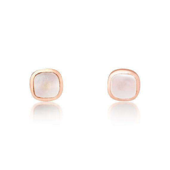 9ct Rose Gold Natural Moonstone Stud Earrings Uk By Rocksoflondon