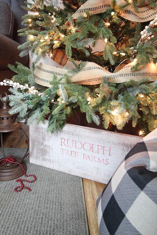 DIY Rustic Christmas Tree Collar Skirt Christmas