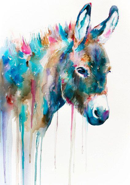 "Donkey watercolor painting print 8"" x 12"" , animal ..."