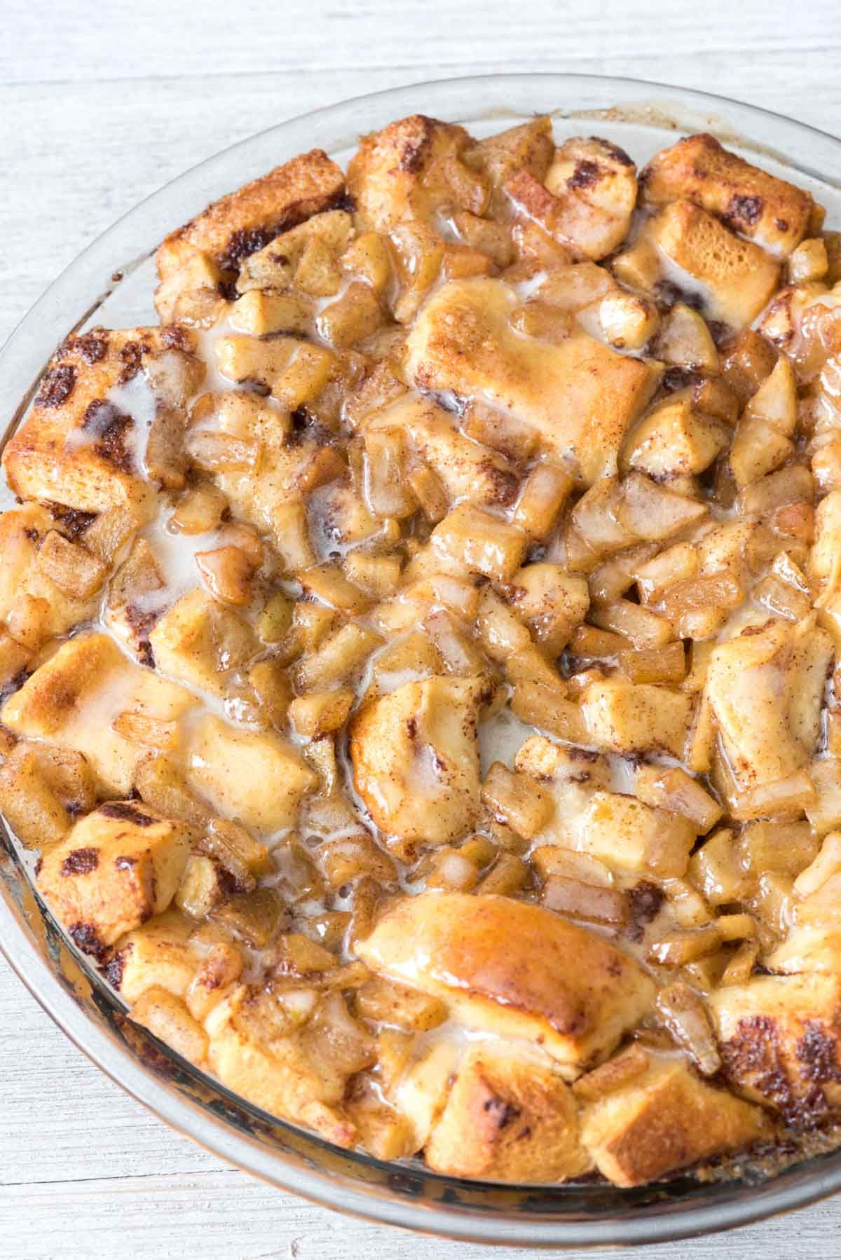 Apple Fritter Cinnamon Roll Bake - Crazy for Crust