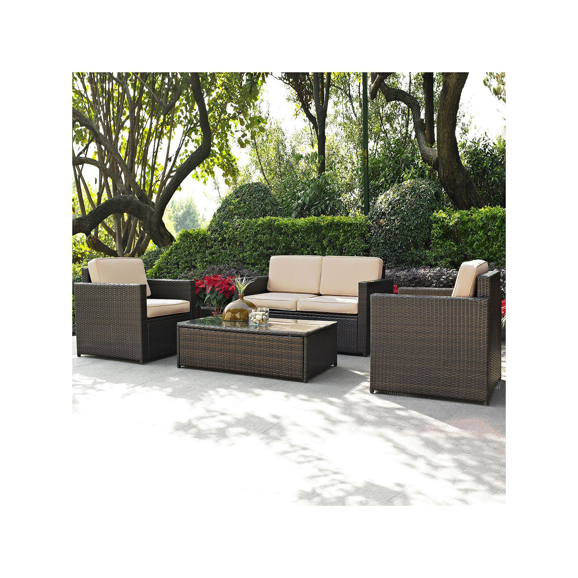 Outdoor Crosley Furniture Palm Harbor Patio Loveseat, Arm Chair & Coffee Table 4-piece Set, Brown