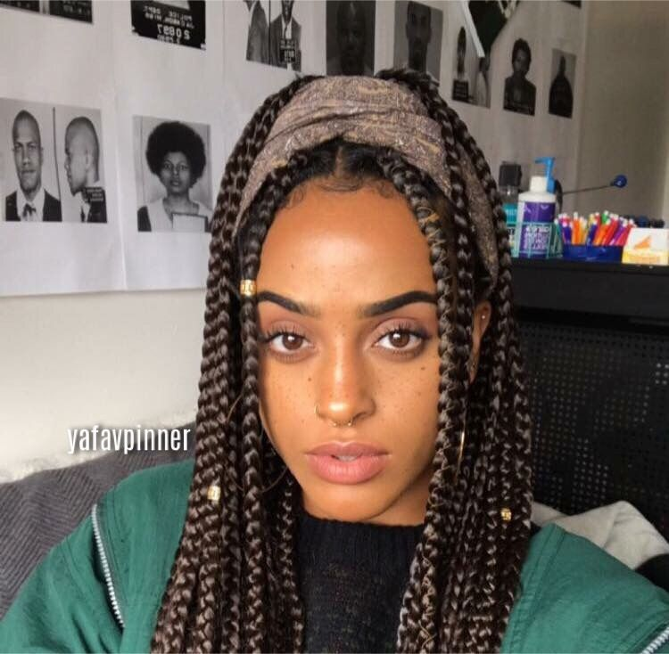 Box Braids In Brown With A Head Wrap And Gold Accessories Super Cute Way Of Keeping Your Hair Protected Damage Free Love How Neat