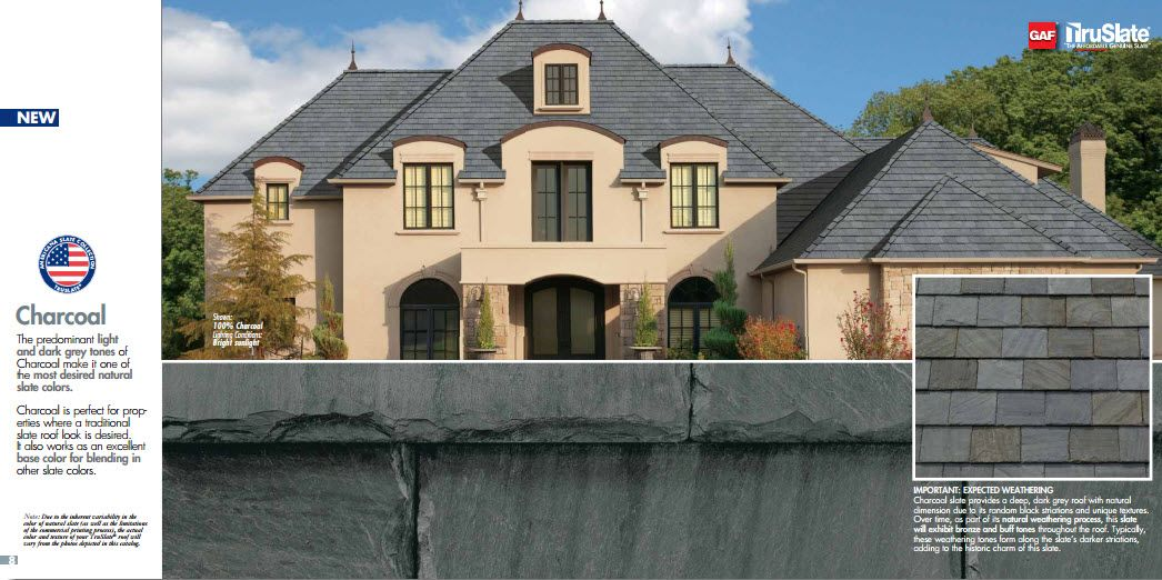 Charcoal Slate Roofing From Truslate Installed And Repaired By Brown Roofing Kc Roof Cost Slate Shingles House Styles