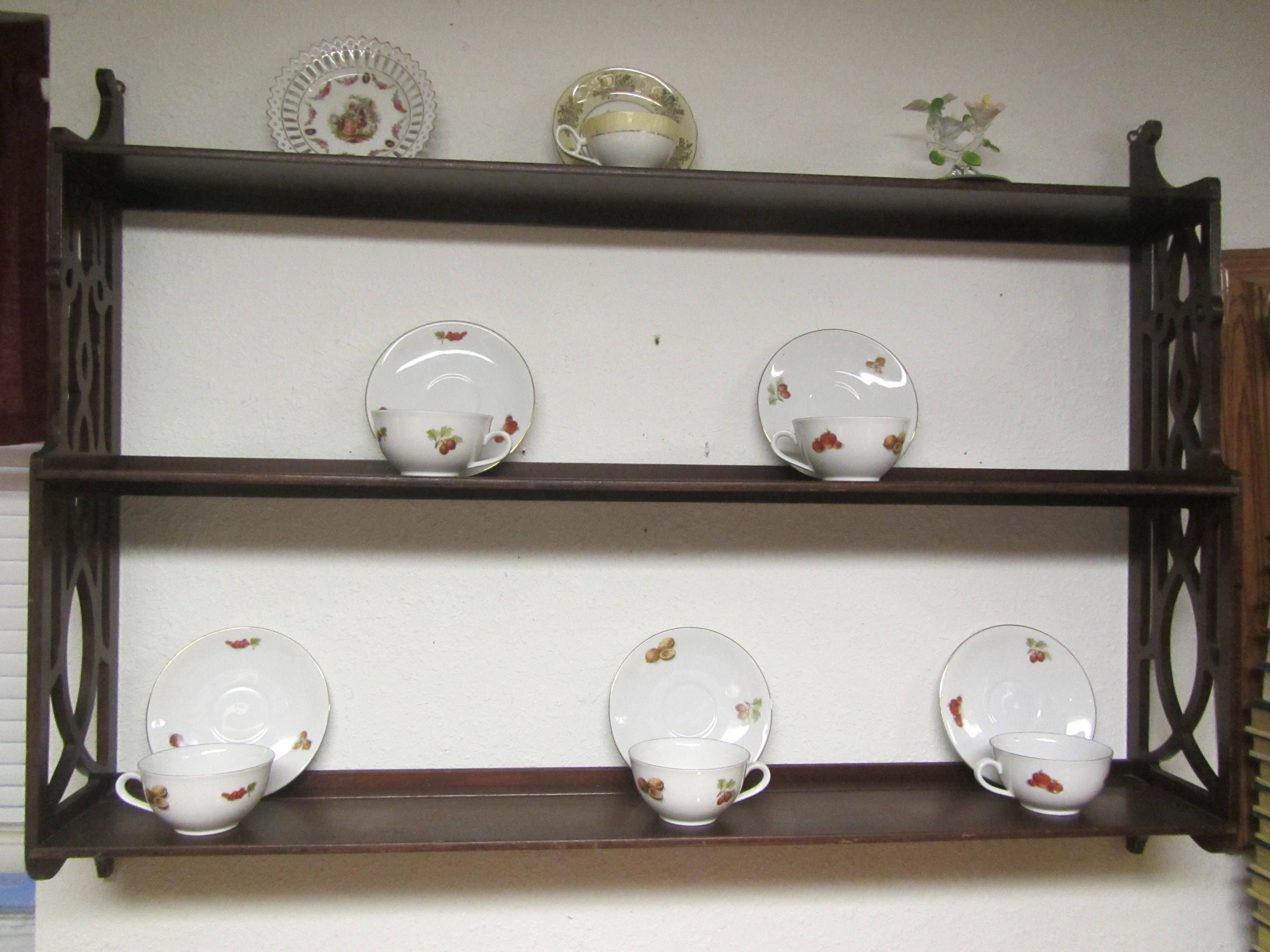 Wood Tea Cup And Saucer Wall Shelf With