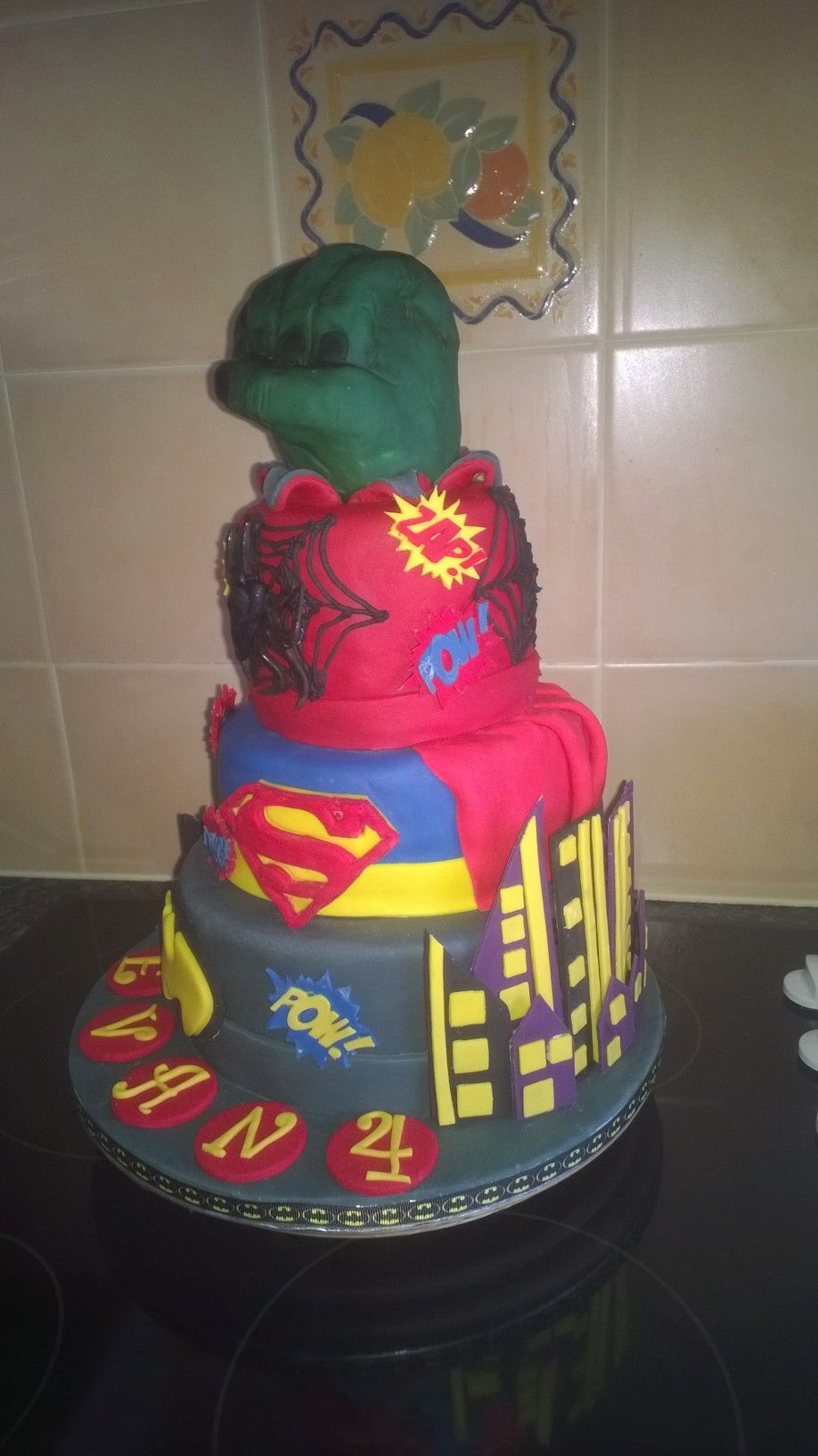Superheroes cake for Evan 4