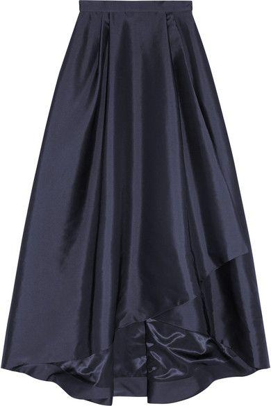 Alberta Ferretti Pleated wrap-effect taffeta maxi skirt | Skirting ...