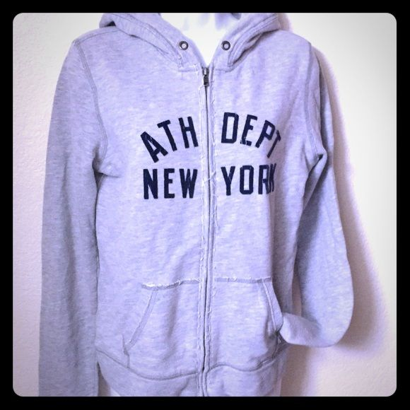 AMBERCROMBIE & FITCH Zip Up Grey Hoodie ATH DEPT NEW YORK NYC distressed Hoodie Ambercrombie & Fitch Sweaters