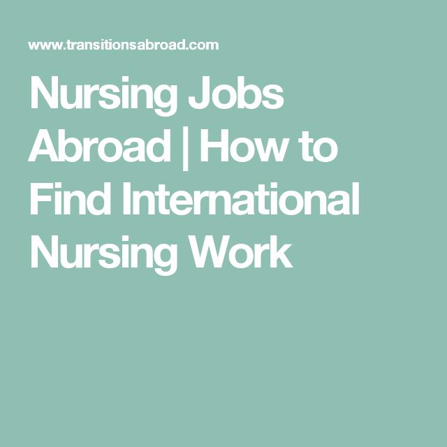 Nursing Jobs Abroad How To Find International Nursing Work