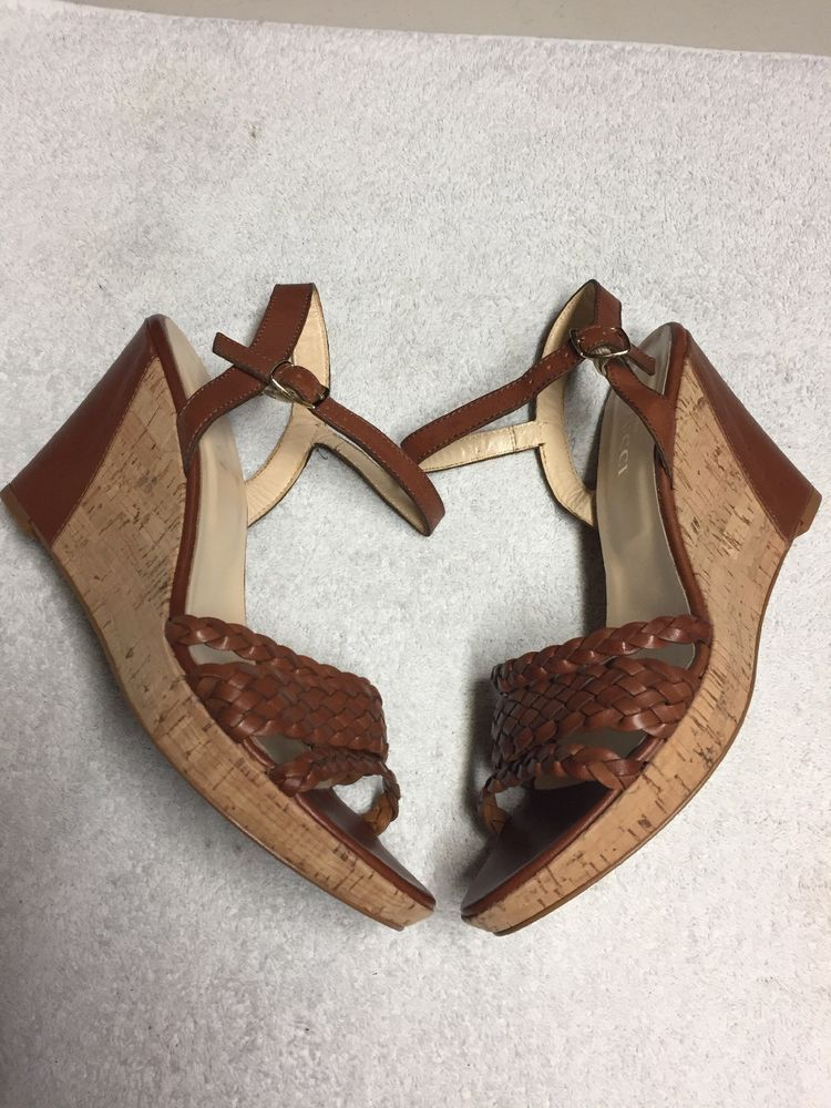 ecea268beeb Sesto Meucci Women's Brown Leather Ankle Strap Wedge Heel Shoes Size ...