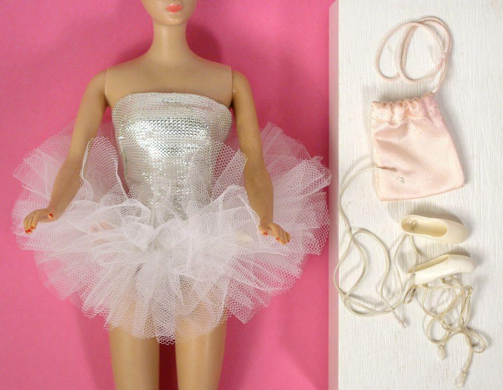 Vintage Barbie 989 Ballerina Tutu Ballet Slippers Pink Satin Shoe Bag 1961 Vguc Satin Shoes Pink Satin Ballerina Tutu