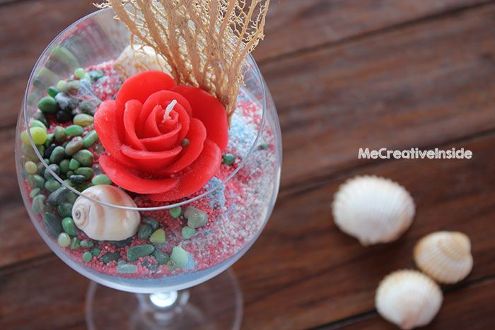 Centrotavola estivo calice di sabbia colorata tutorial diy ME creativeinside