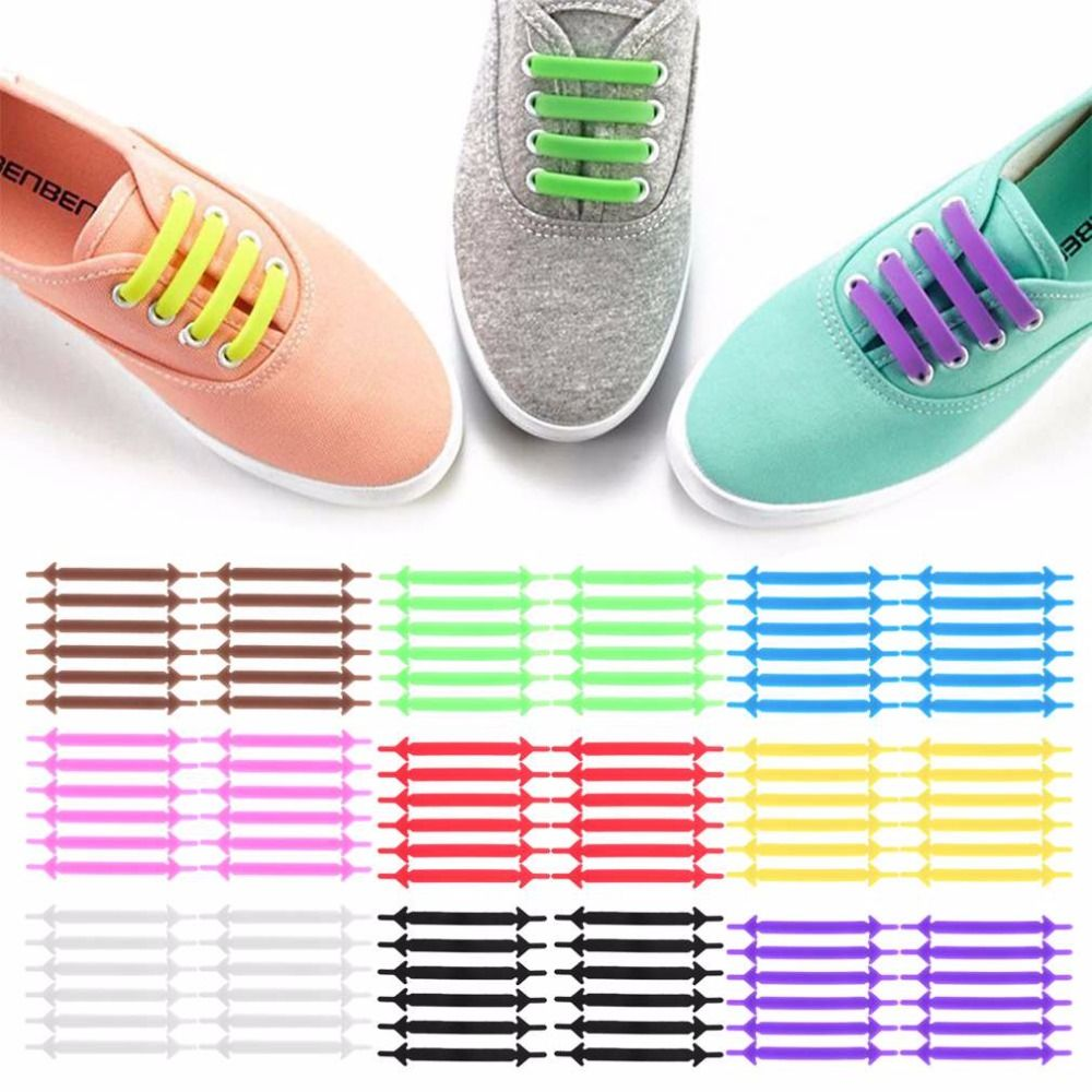 Laces No Easy Sneakers Colorful Silicone Shoe Tie Elastic Colored 16pcs Flat