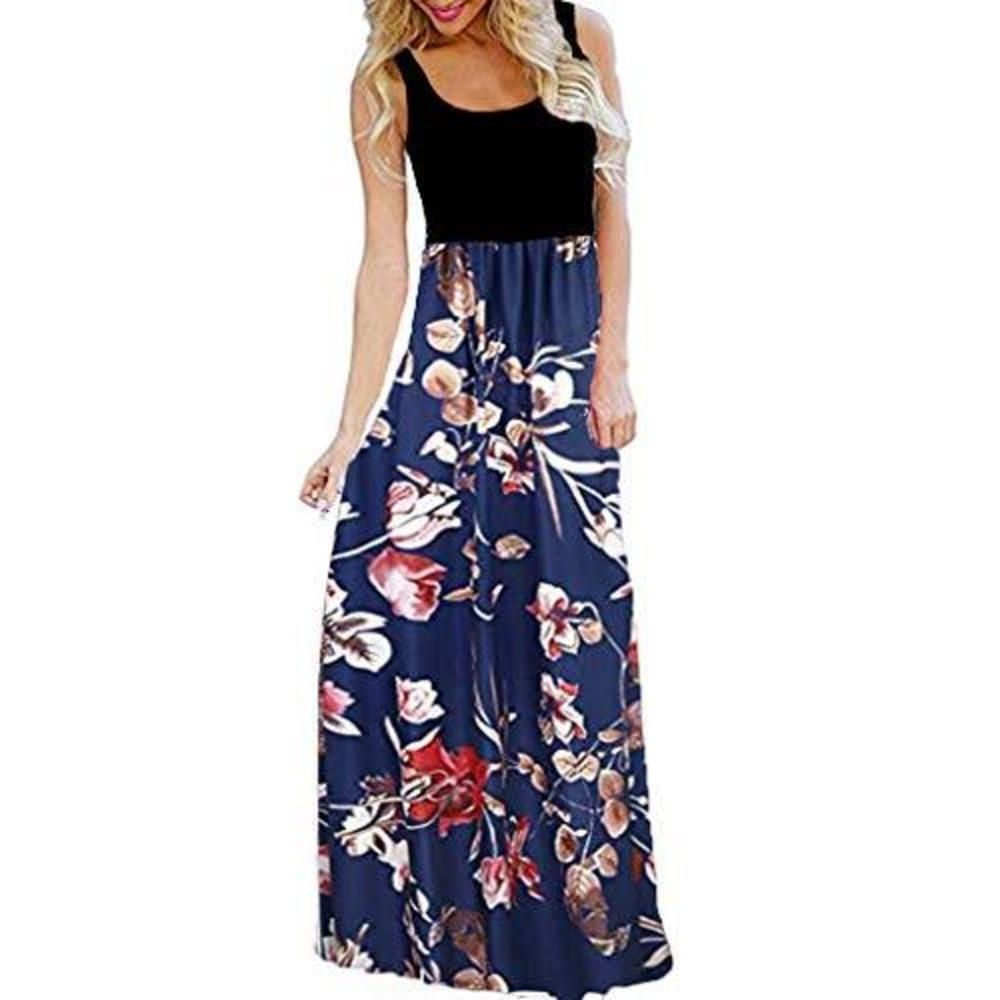 Womens Summer Contrast Sleeveless Tank Top Floral Print Maxi Dress Boho Sleeveless Floral Tank L Sleeveless Dresses Casual Maxi Tank Dress Simple Maxi Dress [ 1000 x 1000 Pixel ]