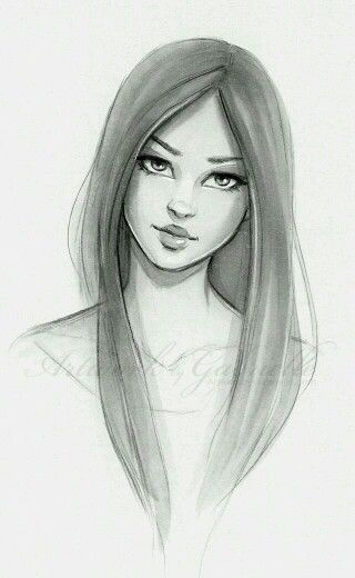 Bunatia With Straight Hair Cool Drawings Sketches Girl Drawing