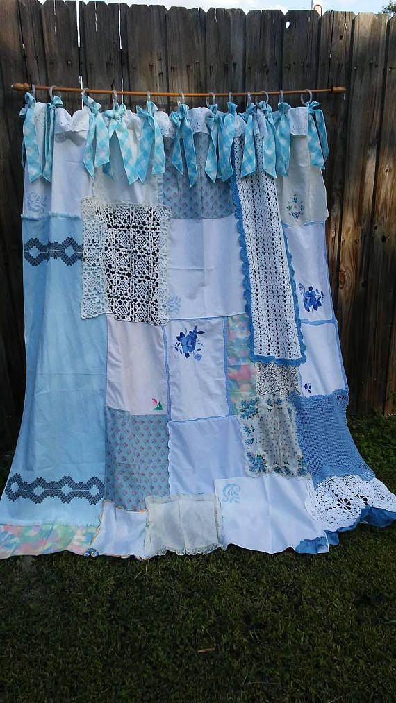 Shower Curtain Shabby Chic Vintage Crochet Embroidery