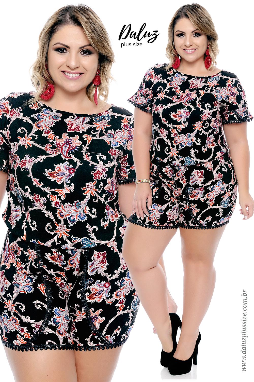 5c3310dca Macaquinho Plus Size Savannah - Coleção Primavera Verão 2017-18 - Daluz  Plus Size