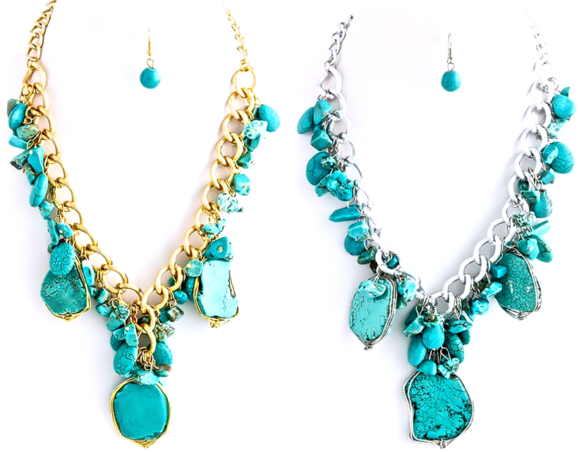 NEW:  Chained Turquoise Necklace Set in Gold or Silver Tone.  www.popofchic.com