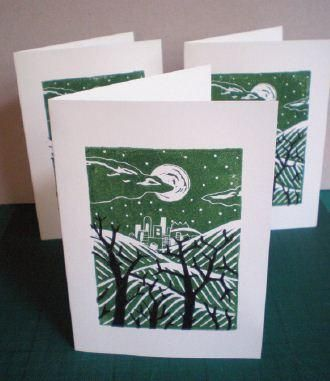 Printing Your Own Christmas Cards.Print Your Own Seasonal Greetings Cards Using Linocut