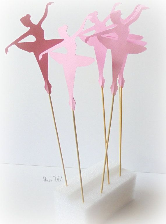 6 Pink Tall Double-sided Ballerina Cake Toppers, Cake Centerpiece ...
