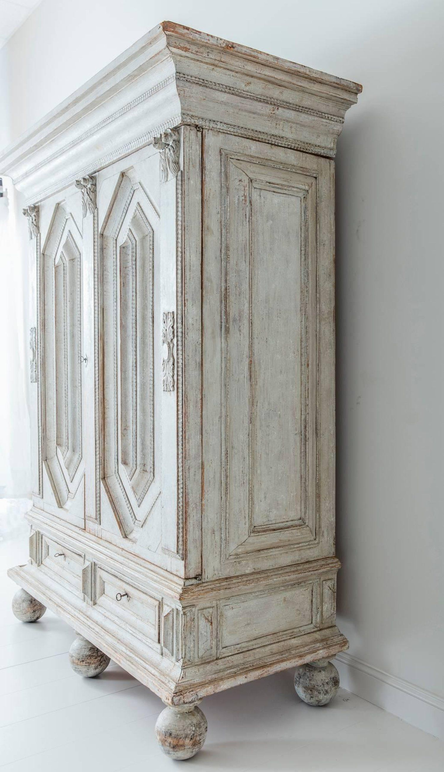 18th Century Swedish Baroque Period Armoire Cabinet From A