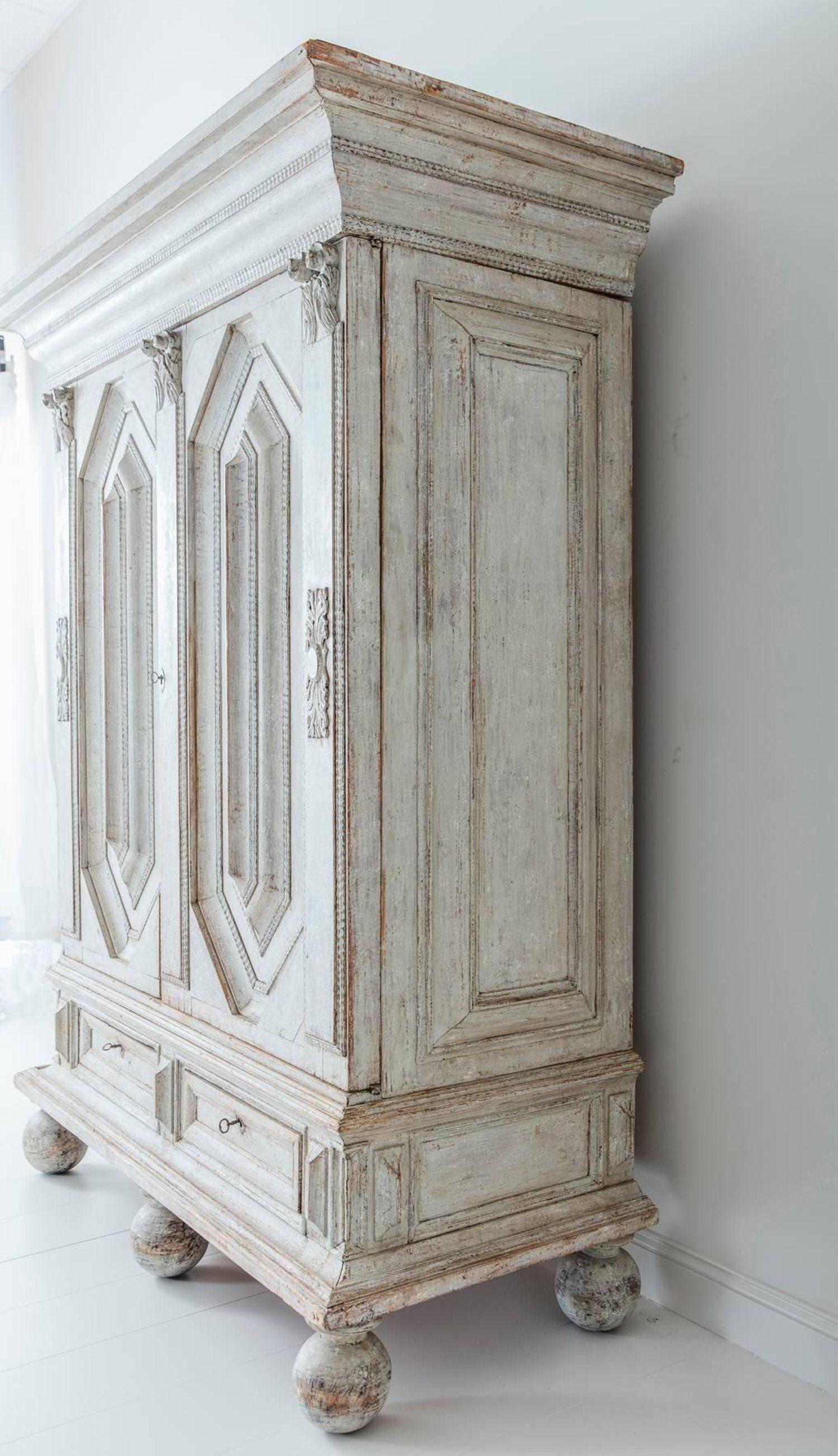 18th Century Swedish Baroque Period Linen Press Armoire