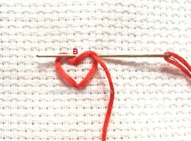 String Of Hearts Chain Stitch Variation Hand Embroidery