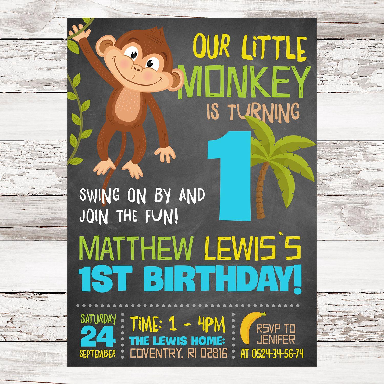 Monkey Invitation, Monkey Birthday Invite, Monkey Invitations, Boy ...