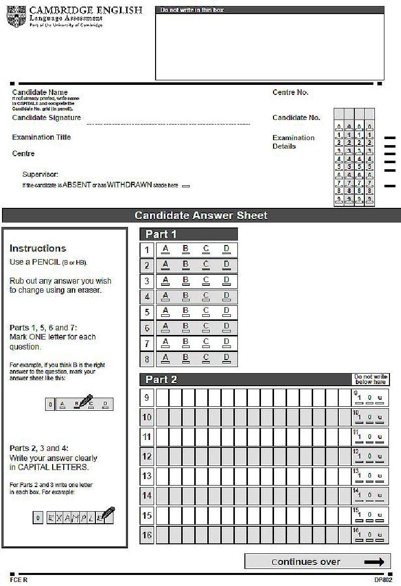 2015 FCE Answer Sheet | certificados | Certificados y ...