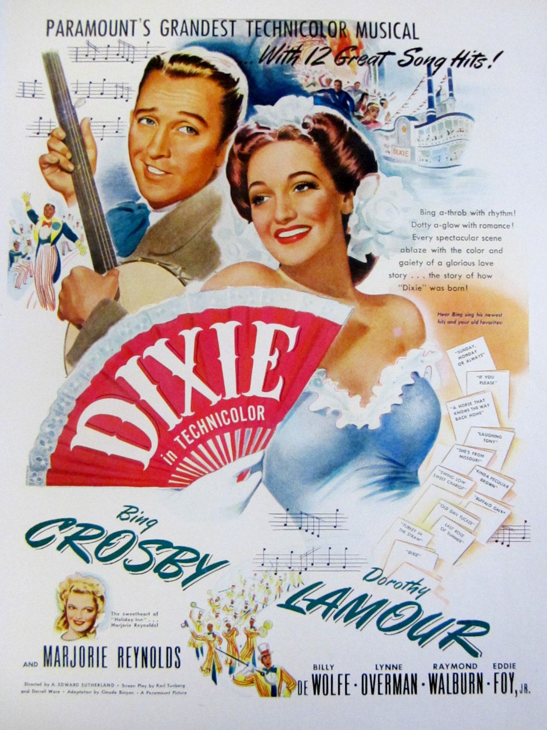 Vintage Movie advertising Poster reproduction. Going my way Bing Crosby
