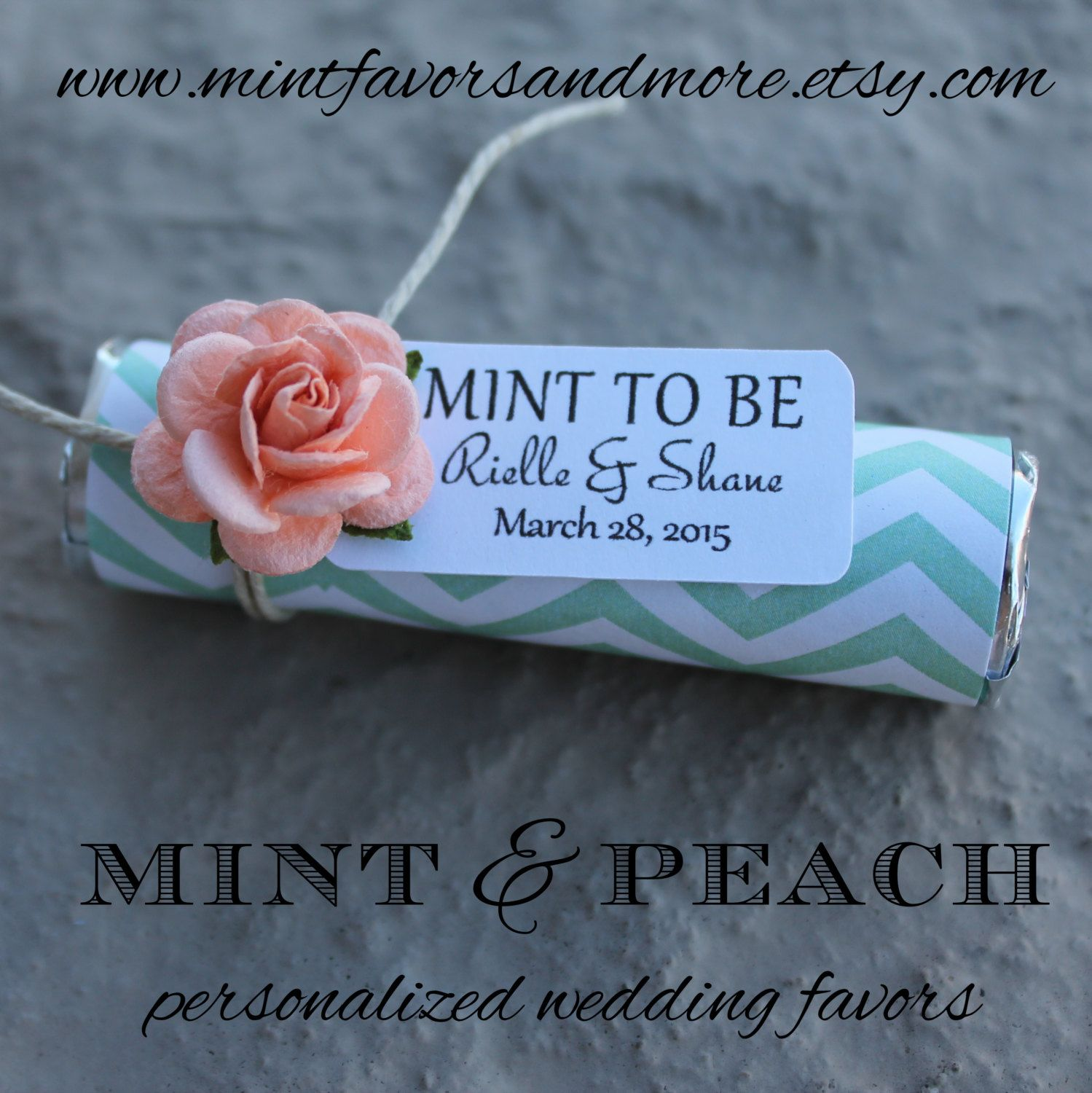 Peach Roses With Custom Favor Tags Mint To Be Wedding