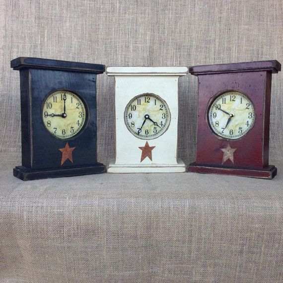 Handmade And Hand Painted Primitive Mantel Clock Quartz Clock Motor Pine Wood Painted Sanded On The Edges And St Primitive Mantels Wood Clocks Mantel Clock