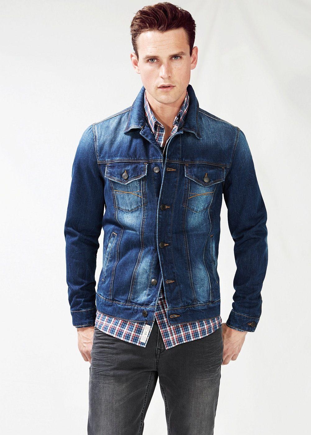 Dark Wash Denim Jacket Men Mango Man Usa Dark Wash Denim Jacket Denim Jacket Denim Jacket Fashion [ 1400 x 1001 Pixel ]