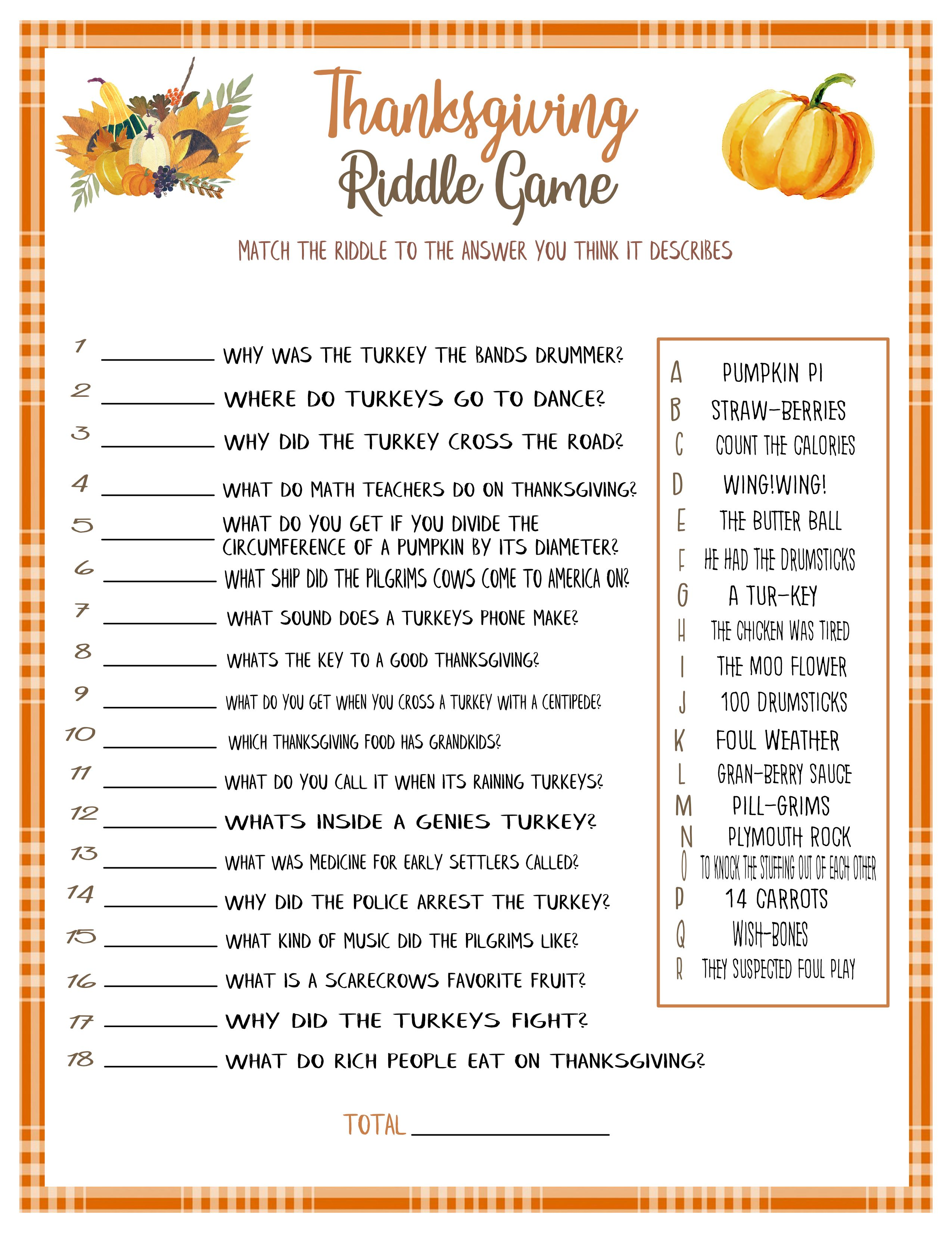 Thanksgiving Riddle Game Games For Thanksgiving Thanksgiving Activities Friendsgiving Ideas In 2020 Thanksgiving Games Riddle Games Thanksgiving Activities