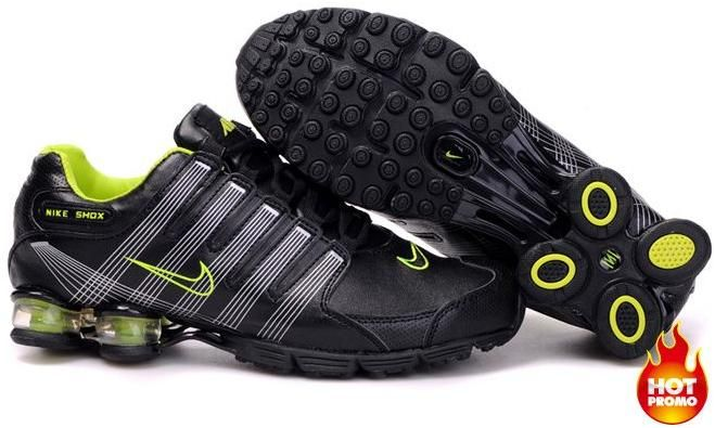 Mens Nike Shox R4 Black Green Cushion5PU0