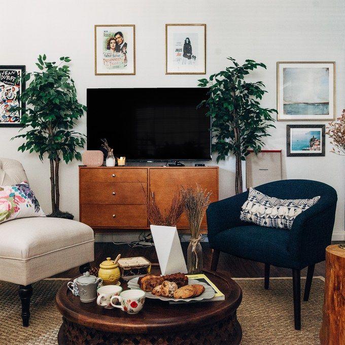 Dark Wood Tv Stand Long Sofa Table Al Decorating Small Apartment