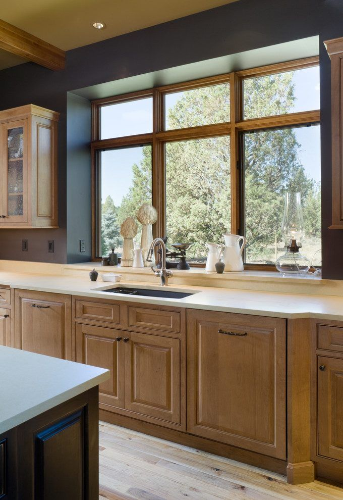 boxed out window spaces rustic with transitional kitchen faucets ...