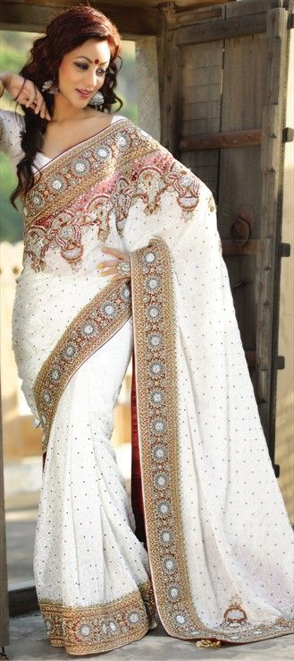b5e5bb322fb8 Jacquard Party Wear Saree in White and Off White with Stone work ...