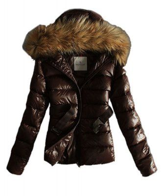 moncler classic jackets womens hooded with belt coffee