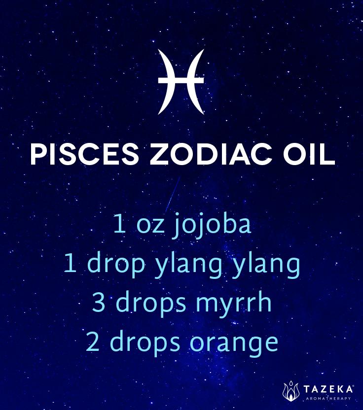 Pisces zodiac oil: 1 oz jojoba, 1 drop ylang ylang, 3 drops myrrh, 2…