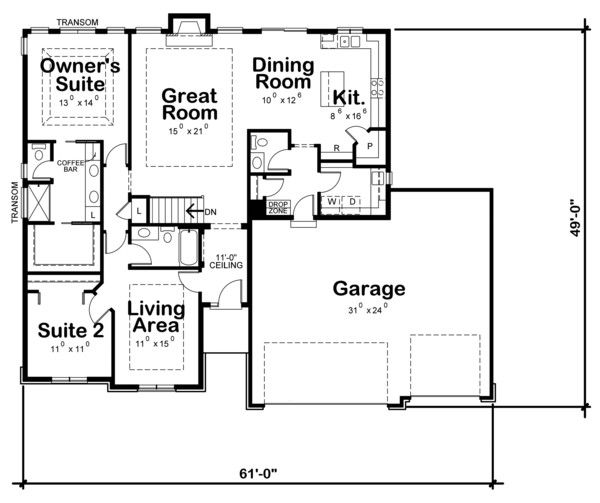 Ranch Style House Plan 3 Beds 2 Baths 1750 Sq Ft Plan 20 2296 Ranch Style House Plans Floor Plans House Plans