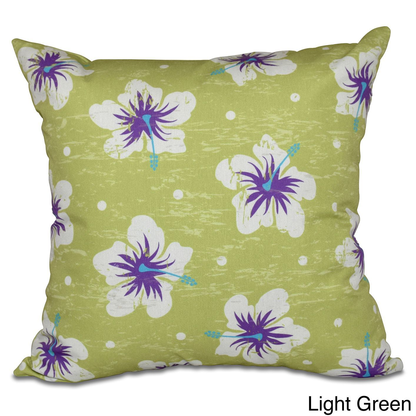 E by design hibiscus blooms inch floral print pillow blue