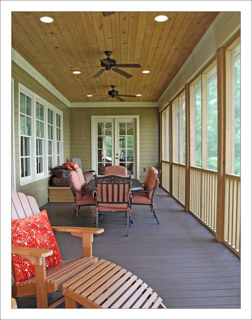 Lakehouse Screened In Back Porch Love The Ceiling And Canned Lighting Porch Lighting Screened Porch Outdoor Porch