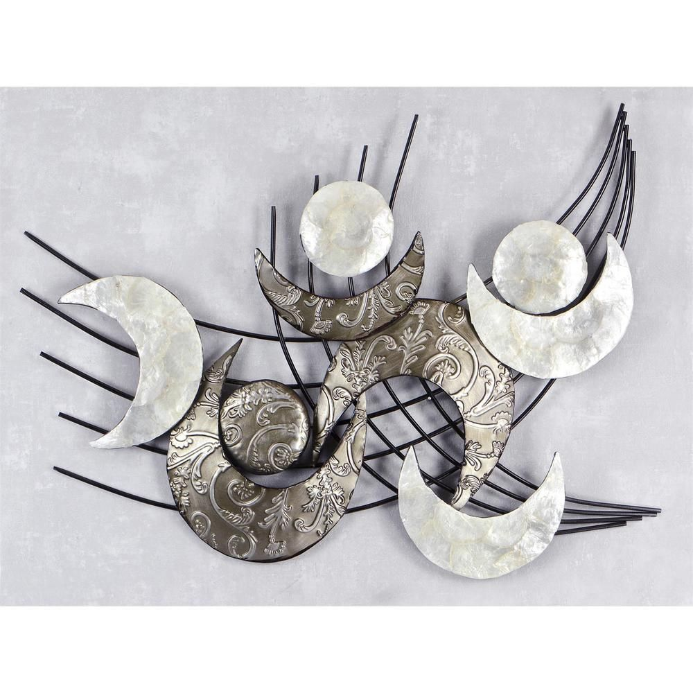 Design wanddeko wandbild muschel modern metall 91x75cm for Silber wanddeko
