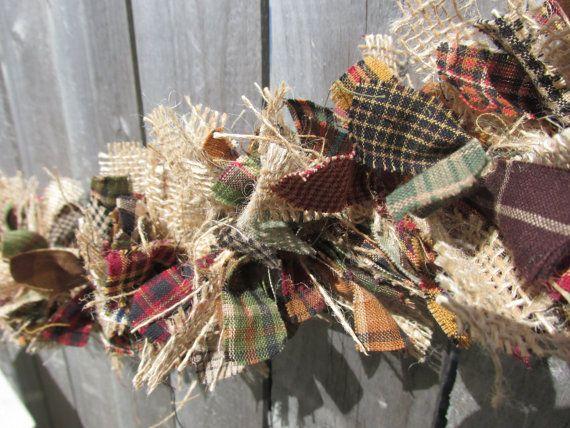 Rustic Fall Garland Burlap Homespun Fabric Jute Rustic Christmas Primitive Decor Fall Garland Rag Garland Burlap Garland