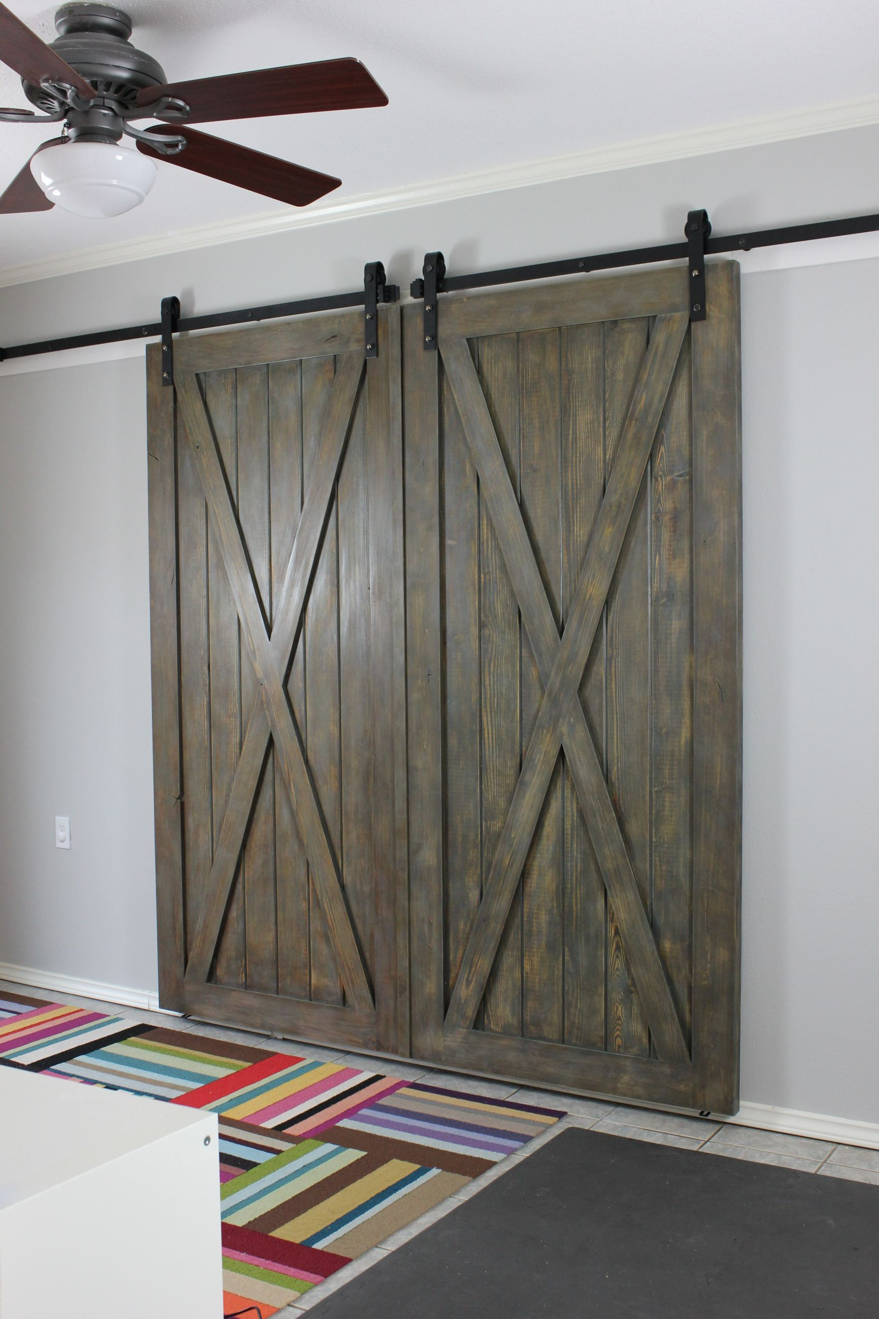 Rustic Pine Barn Door With Cross Buck Design. Faux Finished And Distressed